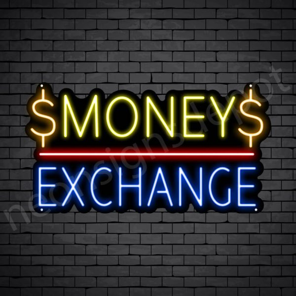Money Exchange Neon Sign - black