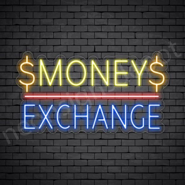 Money Exchange Neon Sign - transparent