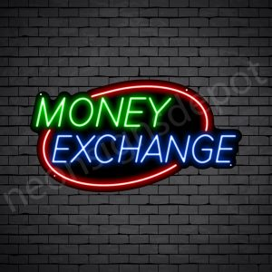 Money Exchange Oval Neon Sign - black