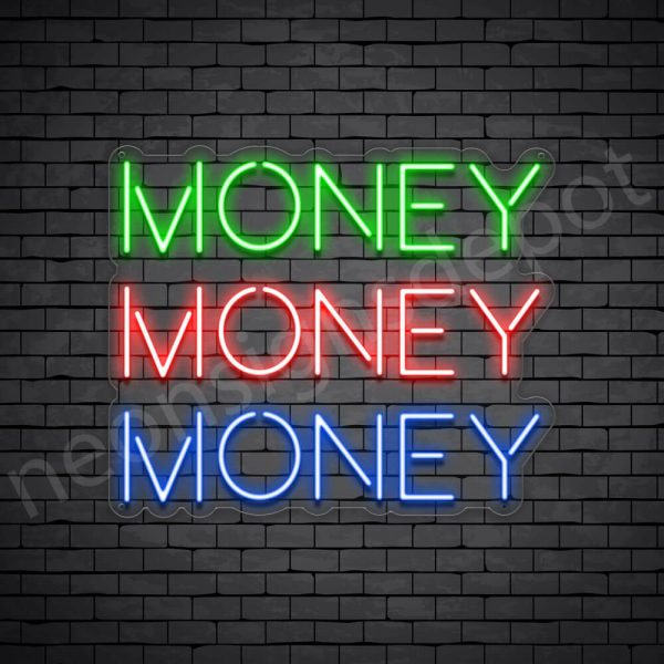 Money Money Money Neon Sign - transparent