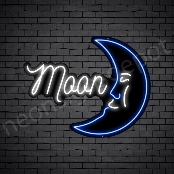 Moon Face Neon Sign - black