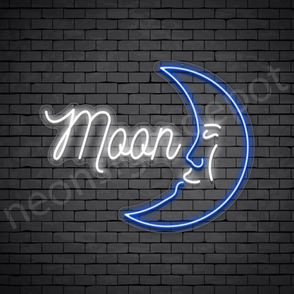 Moon Face Neon Sign - transparent