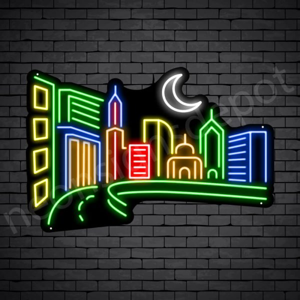 Small City Neon Sign Black