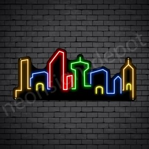 Small Town City Neon Sign - black