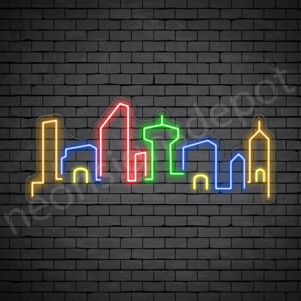 Small Town City Neon Sign - transparent