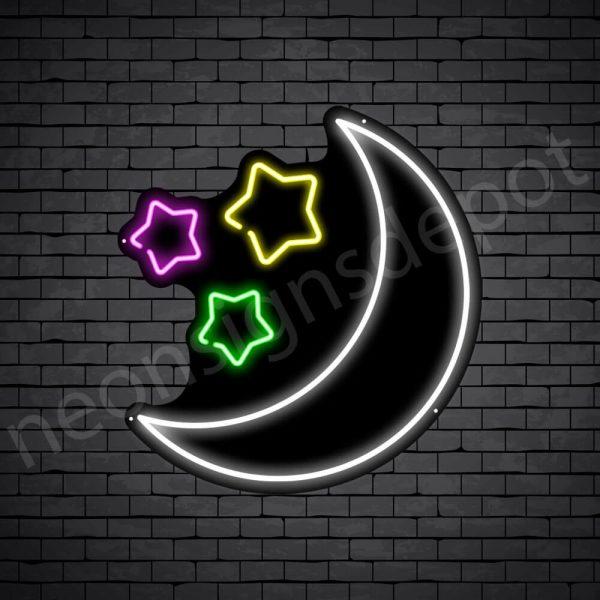 Star Moon Neon Sign - black