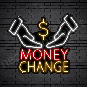 Two Hands Money Change Neon Sign - black