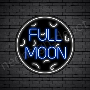 White Full Moon Neon Sign-Black