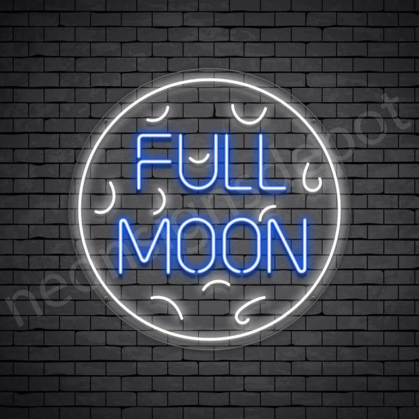 White Full Moon Neon Sign-Transparent