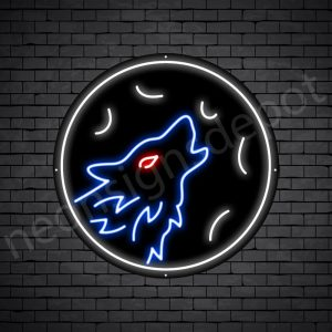 Wolf Full Moon Neon Sign-Black
