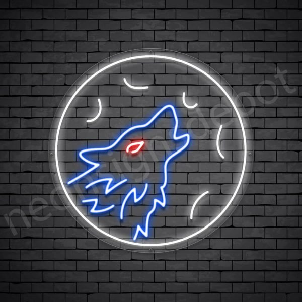 Wolf Full Moon Neon Sign-Transparent
