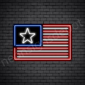 American Flag Neon Sign - black