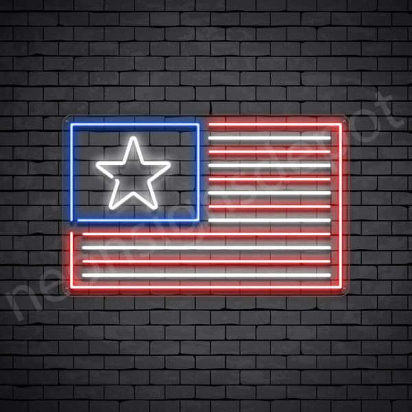 American Flag Neon Sign - transparent
