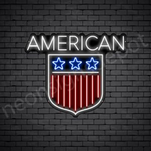 American Shield Flag Neon Sign - black