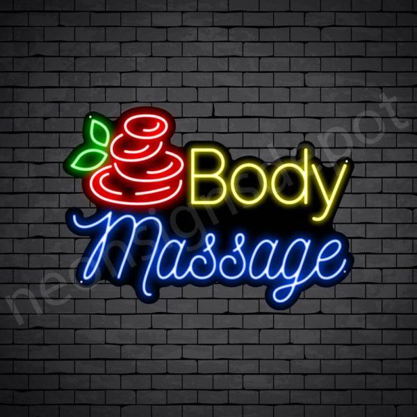 Body Massage Neon Sign - Black