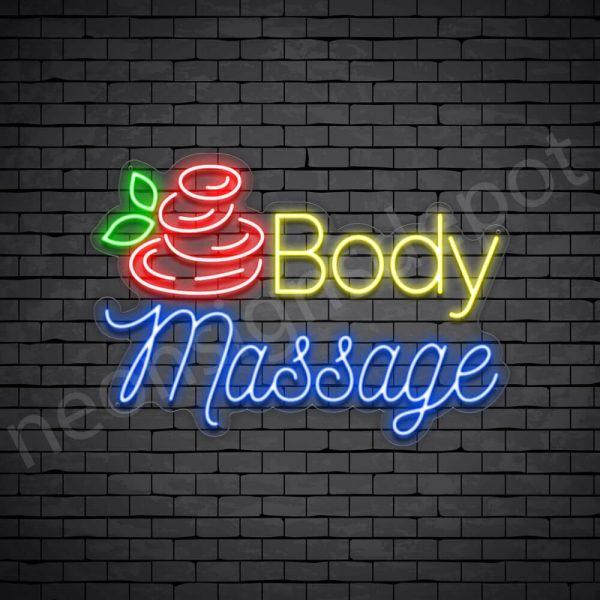 Body Massage Neon Sign - Transparent
