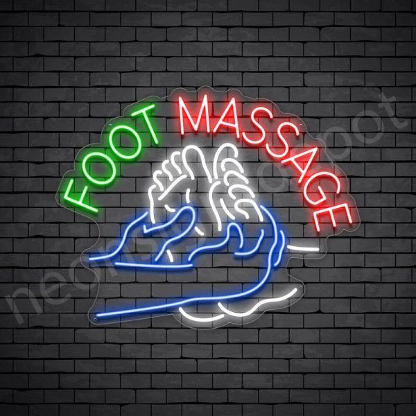 Foot Massage Curve Neon Sign - Transparent