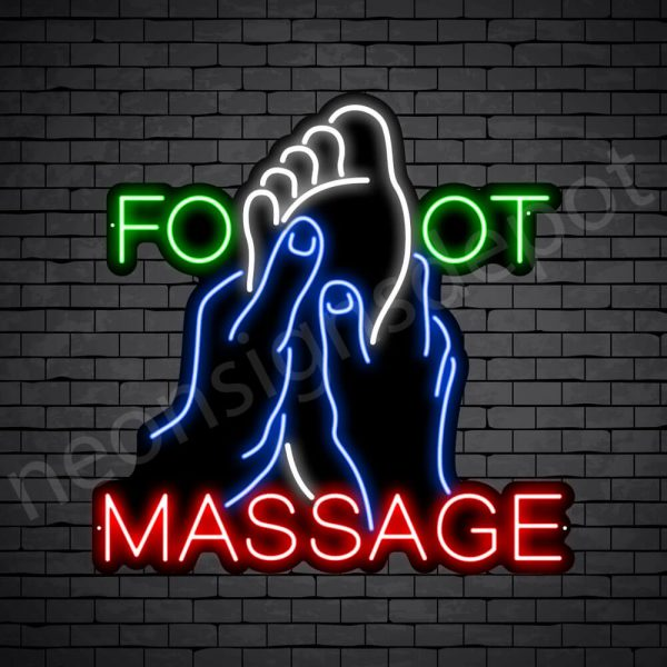 Foot Massage Neon Sign - Black
