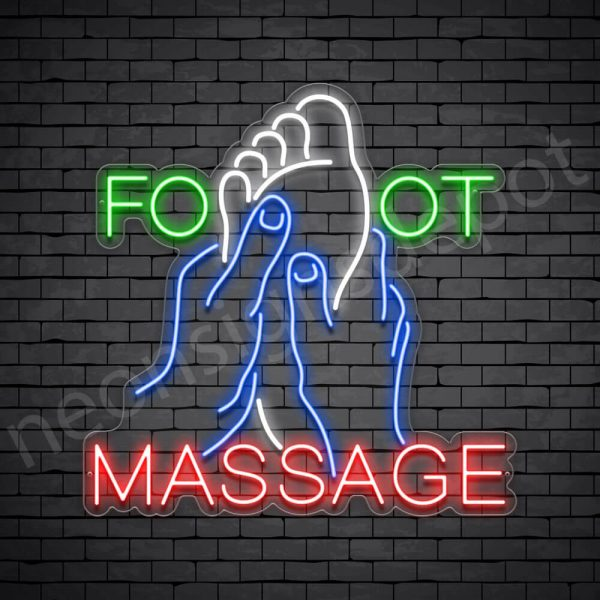 Foot Massage Neon Sign - Transparent