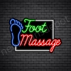 Foot Massage Square Neon Sign - Black