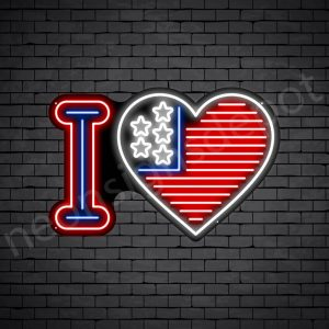 I Love America Flag Neon Sign - black