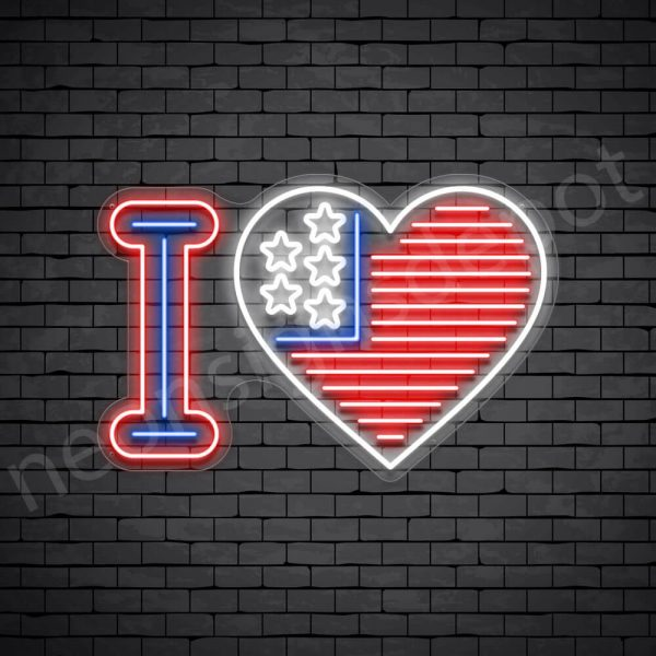 I Love America Flag Neon Sign - transparent