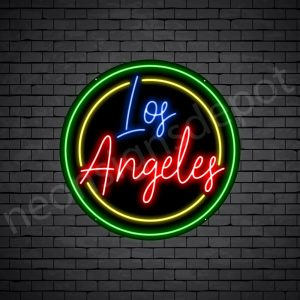 Los Angeles Circle Neon Sign - Black