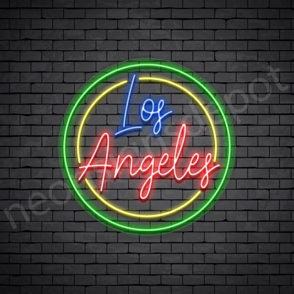 Los Angeles Circle Neon Sign - Transparent