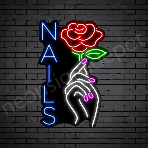 Nail Hand Rose Neon Sign - black