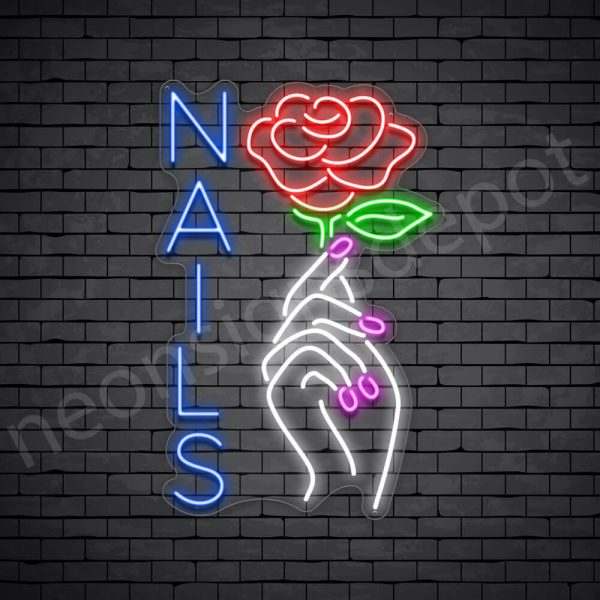 Nail Hand Rose Neon Sign - transparent