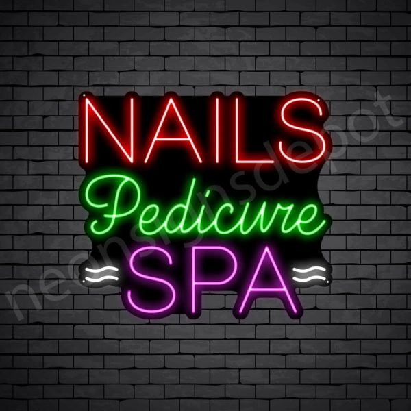 Nails Pedicure Spa Neon Sign - Black