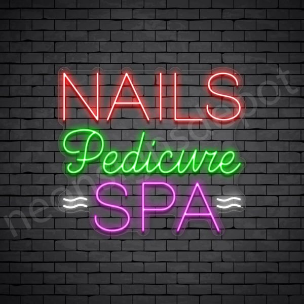 Nails Pedicure Spa Neon Sign - Transparent