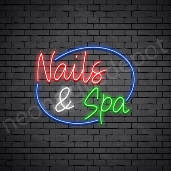 Nails & Spa Circle Neon Sign - transparent