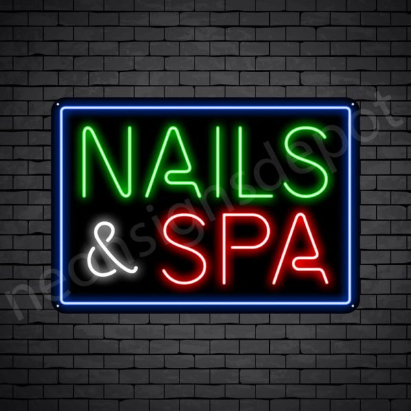 Nails & Spa Neon Sign - Black