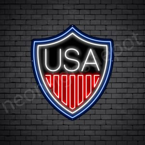 Shield USA Flag Neon Sign - black