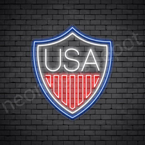 Shield USA Flag Neon Sign - transparent