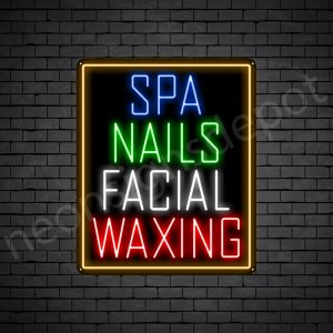 Spa Nails Facial Waxing Neon Sign - Black