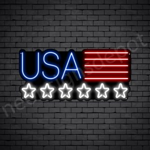 Star USA Flag Neon Sign - black