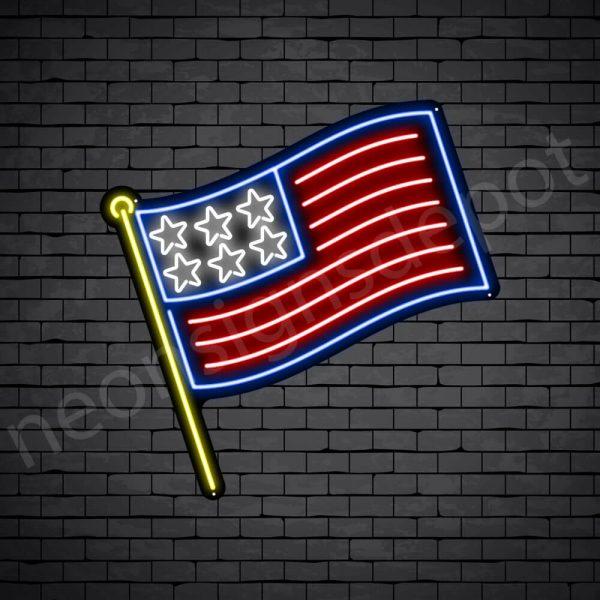 Stick American Flag Neon Sign - Black