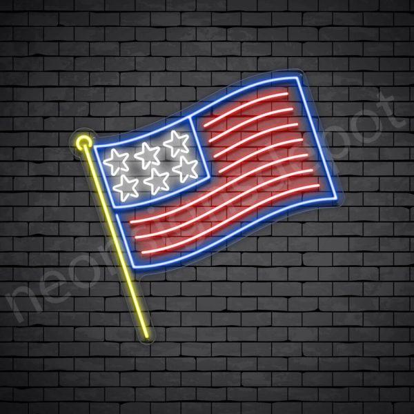 Stick American Flag Neon Sign - transparent