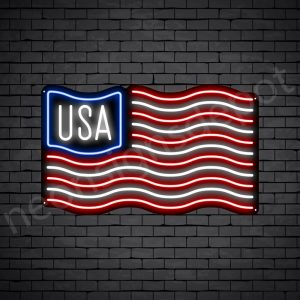 USA Flag Neon Sign - black