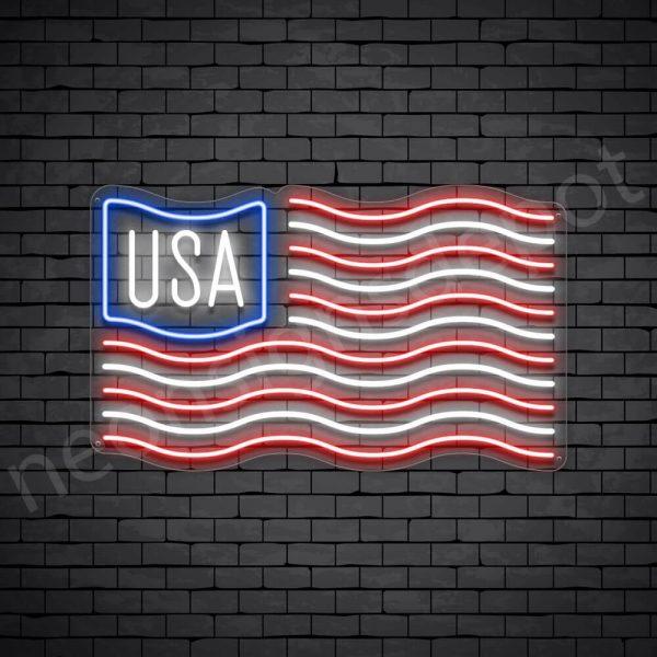 USA Flag Neon Sign - Transparent