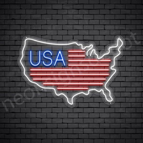 USA Map Flag Neon - Transparent