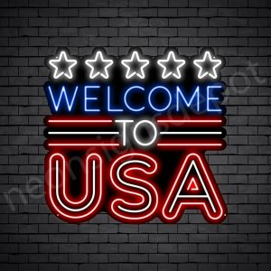 Welcome to USA Flag Neon Sign - Black