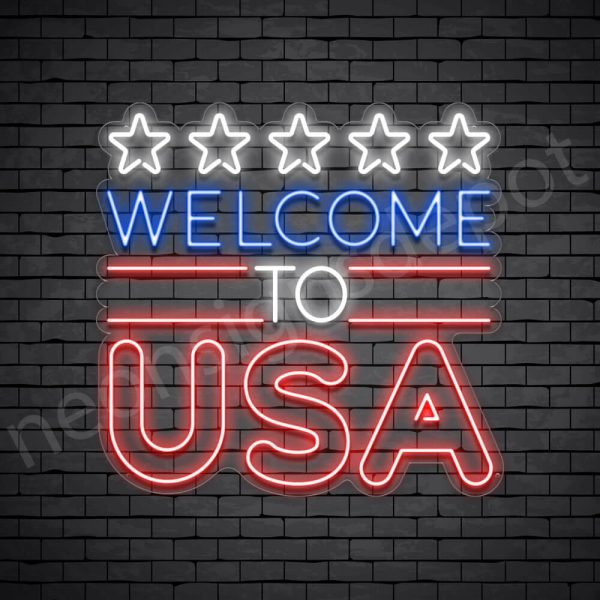 Welcome to USA Flag Neon Sign - transparent