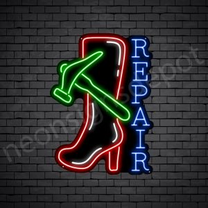 Hammer Shoe Repair Neon Sign - Black