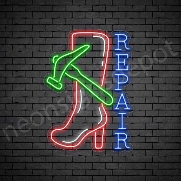 Hammer Shoe Repair Neon Sign - transparent
