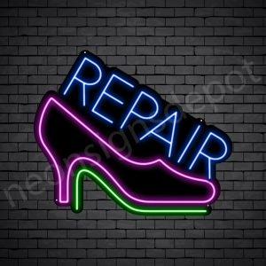 Repair Shoes Neon Sign - Black
