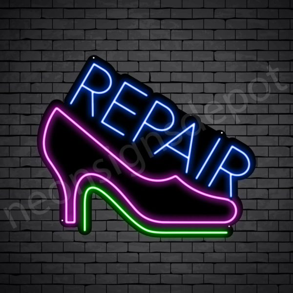 Repair Shoes Neon Sign - Black
