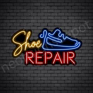 Shoe Blue Repair Neon Sign - Black